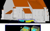 Combined geodetic and geophysical modelling of a religious edifice